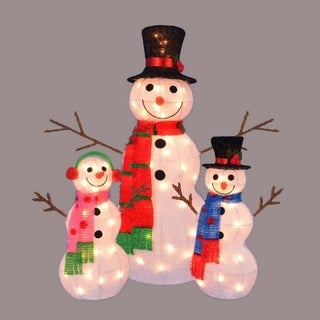 Set of 3 Lighted Tinsel Snowman Family Christmas Yard Art Decorations 35""