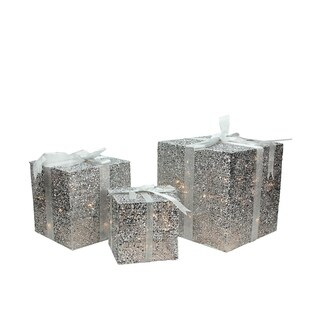 Set of 3 Lighted Silver Glitter Gift Box Christmas Yard Art Decoration