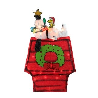"27"" Pre-Lit Peanuts 3-Dimensional Snoopy with Star Yard Art Christmas Decoration"