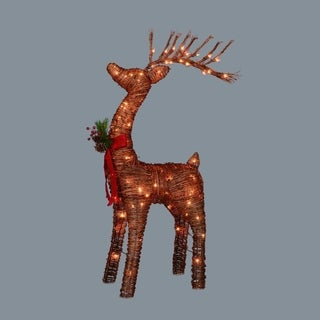"48"" Pre-Lit Standing Rattan Reindeer with Red Bow and Pine Cones Christmas Yard Art Decoration"