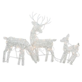 Set of 3 White Glittered Doe Fawn and Reindeer Lighted Christmas Yard Art Decoration