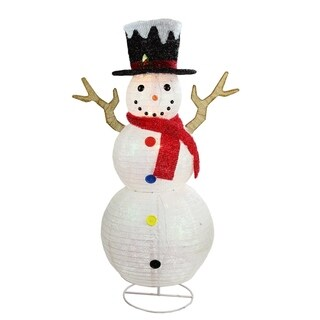 "48"" Pre-Lit Glitter Snowflake Snowman with Top Hat Outdoor Christmas Yard Art Decoration"