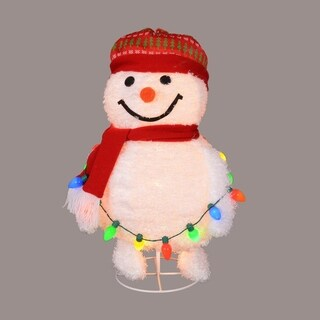 """30"""" Red and White Lighted Frosty Pop-Up Snowman Decorative Decor Yard Art"""