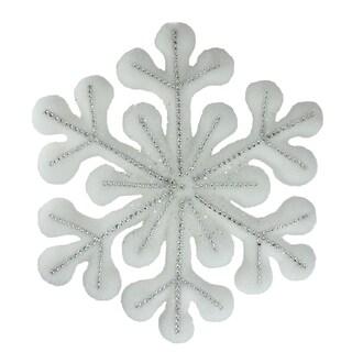 "15"" Winter's Beauty White Glitter Snowflake Hanging Christmas Decoration"