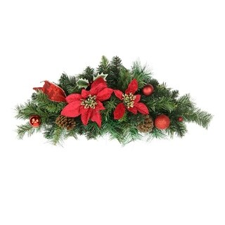 """24"""" Pre-Decorated Red Poinsettia Pine Cone and Ball Artificial Christmas Swag - Unlit"""