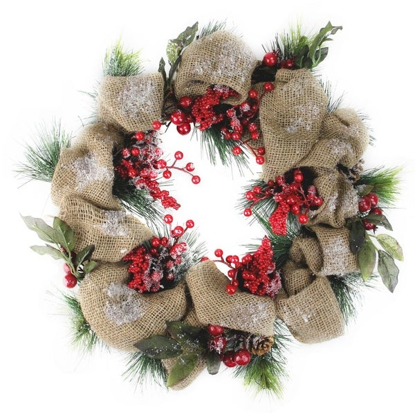 18 Snow Dusted Country Rustic Artificial Christmas Wreath With Berries And Pine Cones Unlit