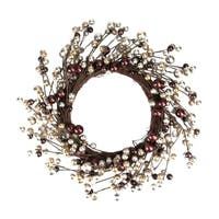 "20"" Autumnal Bliss Ball Ornaments on a Natural Vine Wrapped Wreath"