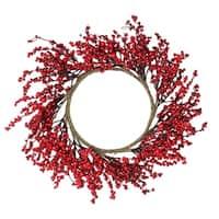 "22"" Festive Red Berries Artificial Christmas Wreath - Unlit"