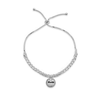 Mondevio Polished Bead Station Wheat Spiga Chain Adjustable Sterling Silver Bolo Bracelet