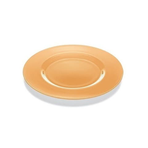 """Majestic Gifts High Quality Glass Charger- Apricot Orange- 12.6"""" Diameter- Made in Europe"""