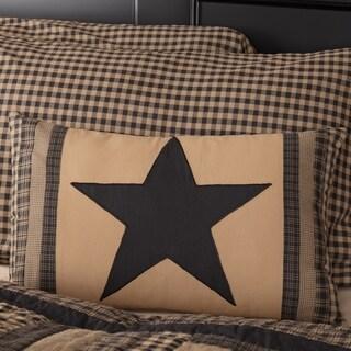 VHC Black Check Star Raven Primitive Country Decor 14x22 Patch Pillow