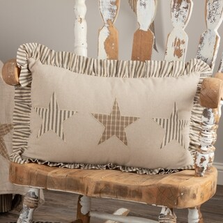 VHC Sawyer Mill Star Khaki Tan Farmhouse Americana Decor Independence Day/4th of July 14x22 Pillow