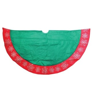 "48"" Green Christmas Tree Skirt with Red Gemstone Glitter Snowflake Trim"