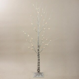 "4"" Pre-Lit Warm White LED Lighted Christmas Twig White Birch Tree Yard Art Decoration"