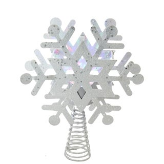 "11.5"" LED Lighted Decorative Snowflake Christmas Tree Topper with Projector - N/A"