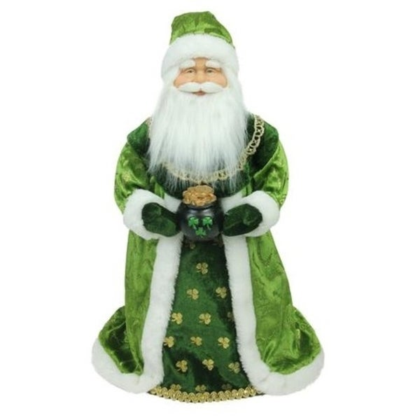 """18"""" Green and White Christmas Santa Claus Tree Topper - Unlit"""