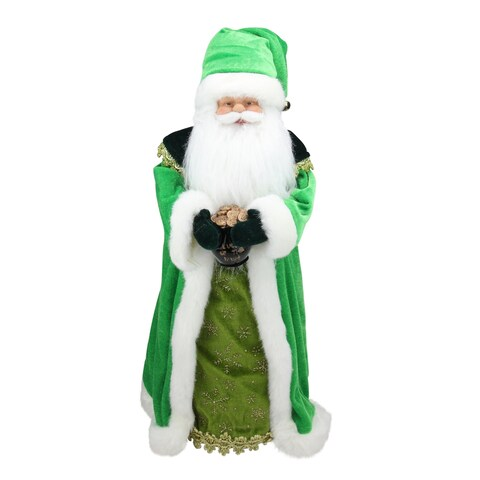 "18"" Luck of the Irish Santa Claus Holding a Pot of Gold Tree Topper - Unlit - N/A"