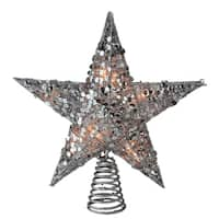 "12"" Glittering Silver Christmas Star Tree Topper - Clear Lights - N/A"