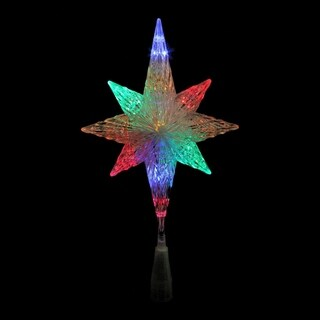 "11"" LED Lighted Crystal Bethlehem Star Christmas Tree Topper - Multi Lights - N/A"