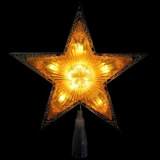 "9"" Lighted Gold Edged Christmas Star Tree Topper - Clear Lights - N/A"
