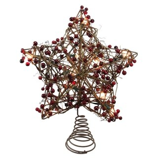"""13.5"""" Brown Rattan with Red Berries Star Christmas Tree Topper - Clear Lights - N/A"""