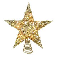 """12"""" Lighted Glittering Gold Christmas Star Tree Topper - Clear Lights - N/A"""