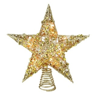"12"" Lighted Glittering Gold Christmas Star Tree Topper - Clear Lights - N/A"