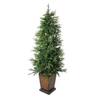 """6' x 43"""" Pre-Lit LED Potted Artificial Pine Christmas Tree - Clear Lights - N/A"""