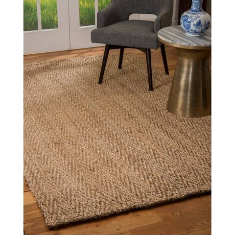 Natural Area Rugs 100% Natural Fiber Handmade Basketweave Chunky Conrad Jute Rectangular Rug (6' X 9') Beige - 6' x 9'