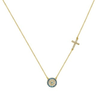 14k Yellow Gold Cubic Zirconia Evil Eye with Cross Necklace