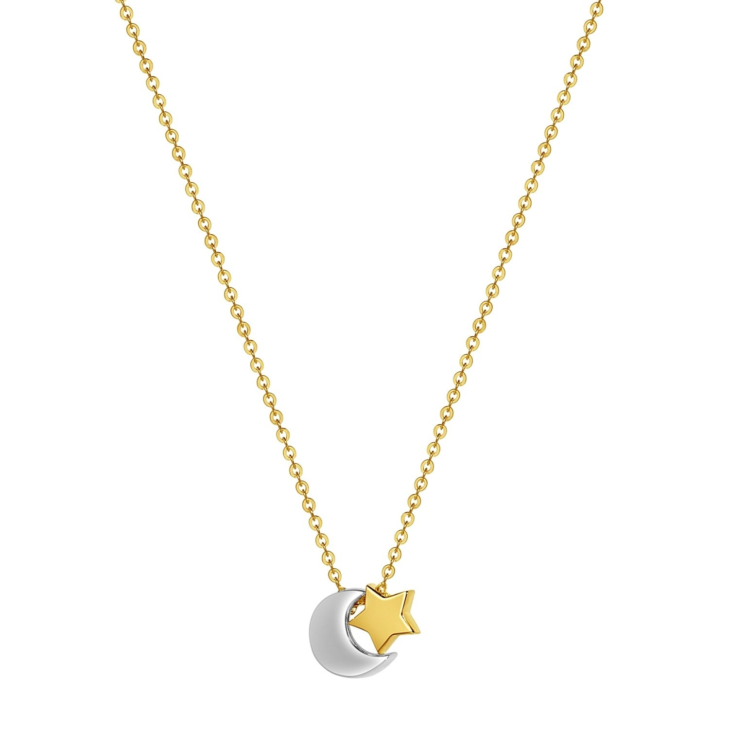 14K Yellow Gold Moon /& Star Charm Pendant For Necklace or Chain