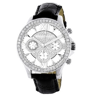 Genuine Diamond Watch for Men Luxurman Liberty Swiss MVT Leather Band White MOP