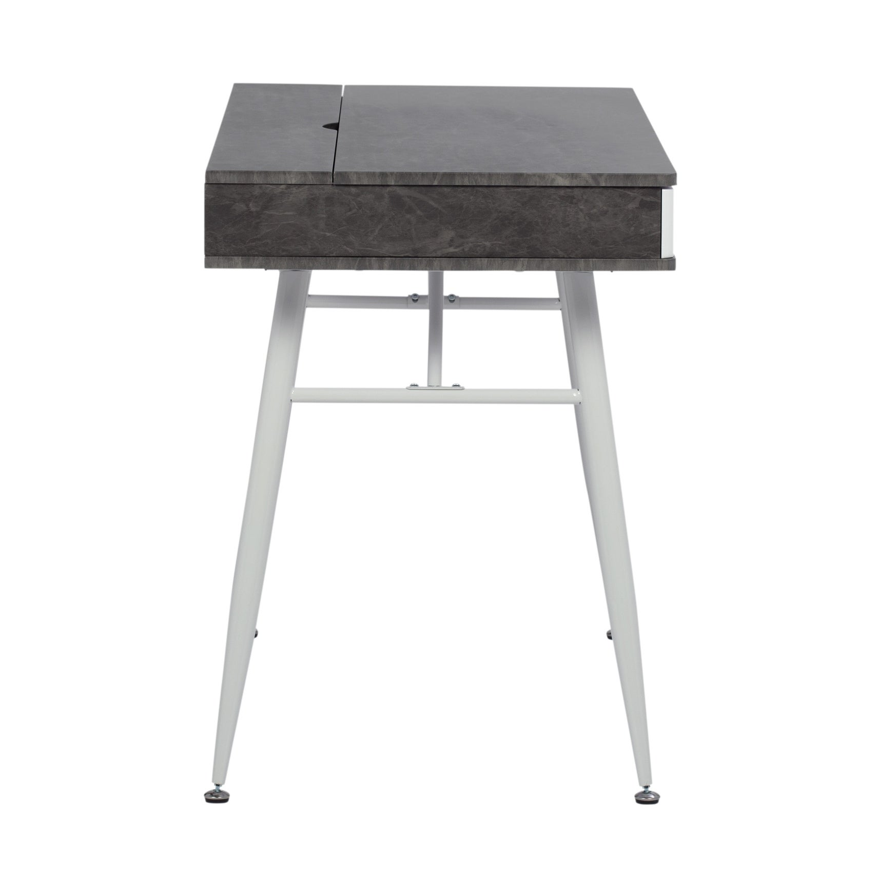 Calico Designs Alcove Modern Desk With Large Split Drawer Overstock 22988014 White Brown Assembly Required Student Desks Writing Desks