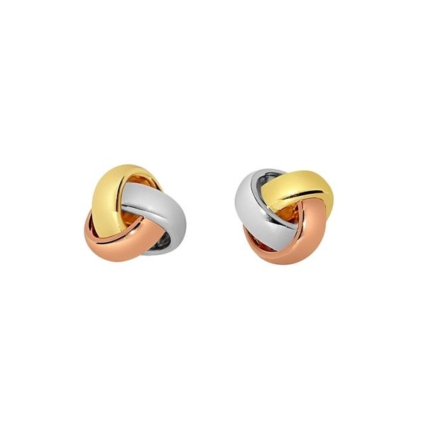 14k Tri Color Gold Love Knot Stud Earrings