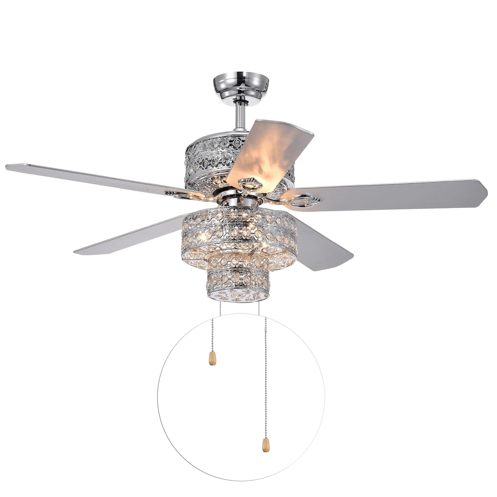 5 Blade Silver Chandelier Ceiling Fan