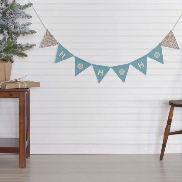 vhc sanbourne turquoise blue coastal christmas decor ho banner - Coastal Christmas Decor