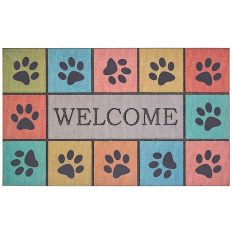 Mohawk Home Doorscapes Welcome Paw Blocks Tiles Door Mat (1'6 x 2'6)