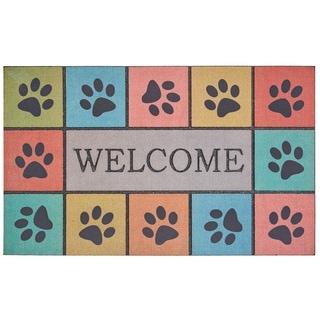 Mohawk Home Doorscapes Welcome Paw Blocks Tiles Door Mat (1'6 x 2'6)