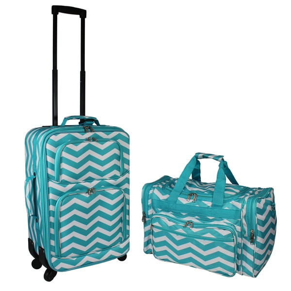 World Traveler 3-Piece Expandable Spinner Luggage Set Luggage Sets Suitcases & Travel Bags Black White Chevron