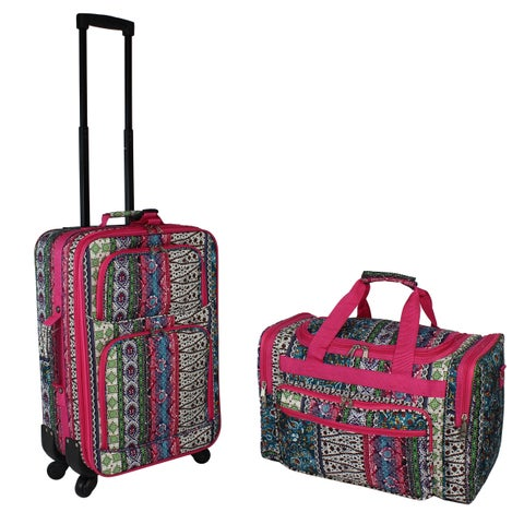 World Traveler Artisan Boho 2-piece Expandable Spinner Luggage Gift Set