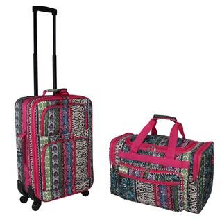 World Traveler Artisan Boho 2-piece Expandable Spinner Luggage Gift Set