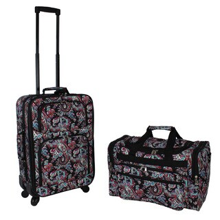World Traveler Paisley 2-piece Expandable Spinner Luggage Gift Set