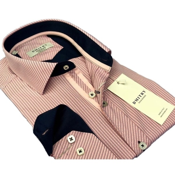 DMITRY Mens Slim Pink Textured Italian Cotton Long Sleeve Dress Shirt