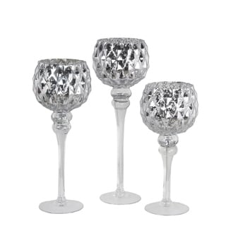 Set Of 3 Silver Mercury Glass Goblets