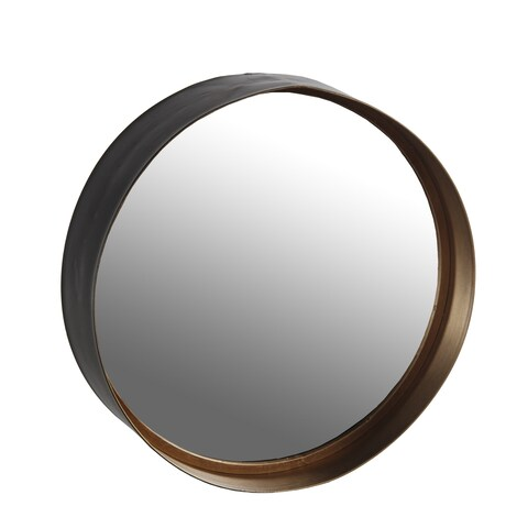 Round Natural Metal Wall Mirror