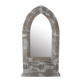 Privilege Distressed Wood Dome Wall Mirror