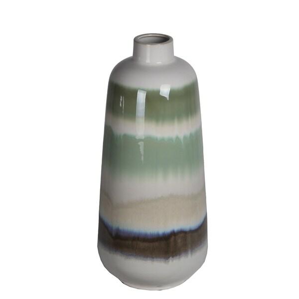 Large Green Drip Ceramic Vase
