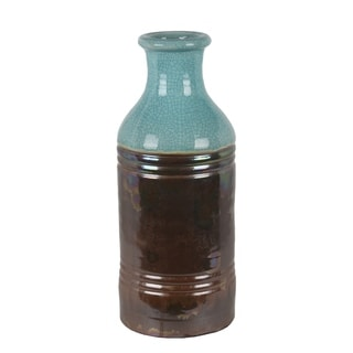 Large Brown And Turquoise Drip Ceramic Vase