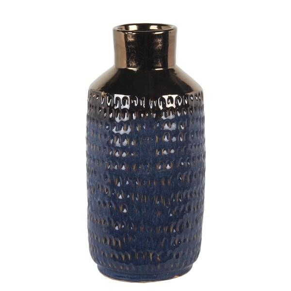 Large Blue And Copper Ceramic Vase