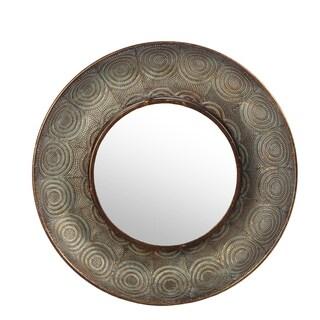 Privilege Hammered Copper Metal Large Round Wall Mirror